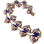 Art Deco Era Enameled Bead Necklace, Middle Eastern Motif