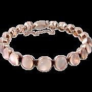 Art Deco Moonstone Bracelet in Silver, Twenty-one Stones