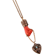 Antique Victorian Coral Hand Pendant Necklace in 14k Gold, with a Silver Heart, Turquoises and Enameling