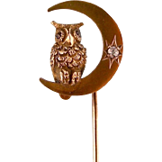 Antique Stick Pin, Owl on a Crescent Moon with Diamond, 14k Gold