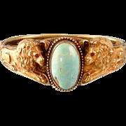 Magnificent Antique Art Nouveau Lions Bracelet with Turquoise Stone, Large Size