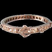 Art Deco Paste Buckle Bracelet, Dazzles Like Diamonds, Fine Details, Signed Diamonbar