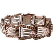 Bold Theodor Fahrner Sterling Silver and Sparkling Pastes Bracelet, Art Deco Germany