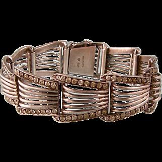 Bold Theodor Fahrner Sterling Silver and Sparkling Pastes Bracelet, Art Deco Germany