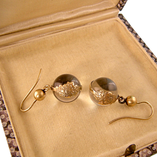 Rock Crystal Pools of Light Earrings, Gold-Washed Silver