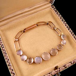 "Antique Victorian Moonstone Bracelet in 14k Rose Gold, Small Wrist, 6"""