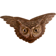 Antique Victorian Owl Pin with Glass Eyes, Huge, 4-1/4""
