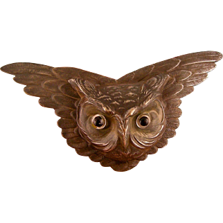 """Antique Victorian Owl Pin with Glass Eyes, Huge, 4-1/4"""""""