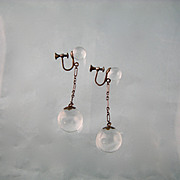 Art Deco Sterling Double Rock Crystal Orbs Dangling Earrings