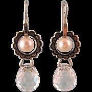 Art Deco Pearl, Enamel, and Crystal Drop Earrings, 14k Gold