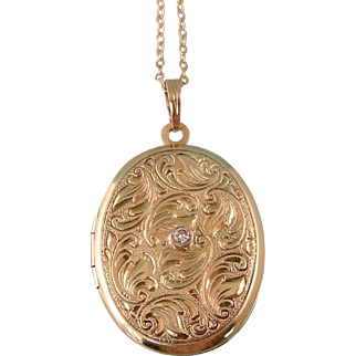 Ornate Victorian Revival Locket with Diamond, in 14k Gold