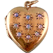 Exceptional Vintage Heart Locket with Nine Fiery Opals, 9ct Gold