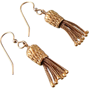 Vintage Tassel Earrings, Victorian Style, Gold Filled
