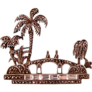 Art Deco Scenic Brooch with Marcasites and Paste Baguettes, Sterling, Germany