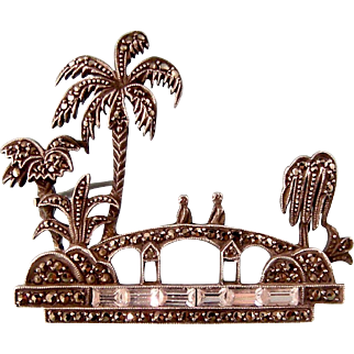 Art Deco Scenic Brooch with Marcasites and Paste Baguettes in Sterling