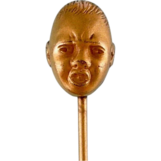 Antique Victorian Two-Faced Stick Pin, Smiling and Frowning Faces