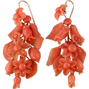 Antique Victorian Lavish Natural Coral Earrings, 2""