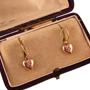 Antique 9ct Rose Gold Heart Earrings with Diamond Pastes