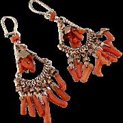 """Coral Chandelier Earrings in Rose Gold Fill, Long 2-3/4"""""""