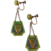 Art Deco Pharaoh Head Earrings, Egyptian Revival, Celluloid with Enameling