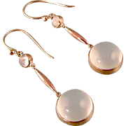 Antique Moonstone Earrings, 9ct Rose Gold, Double Stones