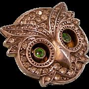 Antique Owl's Head Trembler Brooch, Brilliant Pastes, Martin Mayer, Germany, 935 Silver