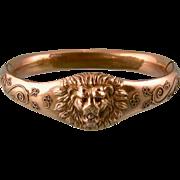 Antique Lion's Head Bracelet with Sparkling Diamond Mouth