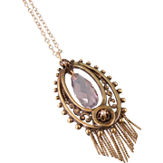 Antique Victorian 14K Gold Pendant with Amethyst Briolette, Two Seed Pearls, and Fringe