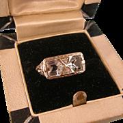 Aquamarine and Diamond Art Deco Ring, 14K White Gold