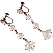 Art Deco Brilliant Crystals Dangling Earrings, Sterling Silver