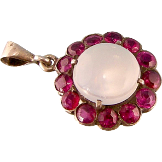 Gorgeous Antique Moonstone and Sparkling Rubies Pendant, Sterling