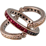 Fabulous Flip Ring, Art Deco, with Sparkling Ruby, Sapphire, and Diamond Pastes