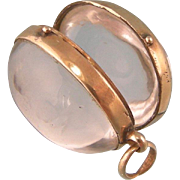 14K Gold, Pools of Light Rock Crystal Oval Locket