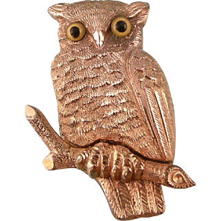 Ornate Antique Victorian Owl Brooch with Glass Eyes, Rose Gold Fill