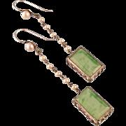 "Art Deco Green Glass, Faux Pearl, and Rhinestone Long Earrings, 2-1/2"""
