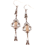 Art Deco Earrings with Baguettes and Marcasites, Sterling, 2-3/4""