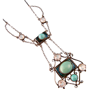 Art Nouveau Necklace with Turquoise Stones, Enameling, and Pastes