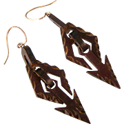 Antique Victorian Carved Gutta Percha Earrings