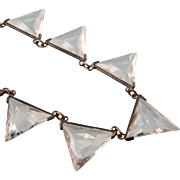 Stunning Art Deco Rock Crystal Triangles Necklace in Sterling Silver