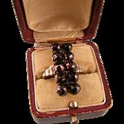 Antique Victorian Garnet Tall Ring, 8ct Gold