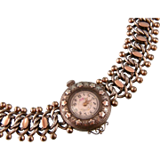 Antique Victorian Ornate Bracelet with Watch Face, Silver and Rose Gold