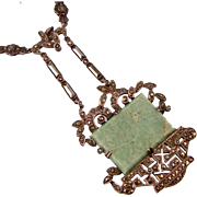 Extraordinary Art Deco Necklace with Amazonite, Hematite, and Marcasite Stones, Sterling, Germany