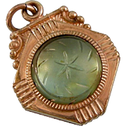 Antique Victorian Carved Saphiret and Onyx Fob or Pendant