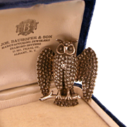 Antique Victorian Owl Brooch in Sterling Silver with Stars