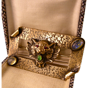 Antique Art Nouveau Brooch with a Lion's Head and Glass Stones