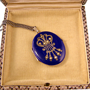 Antique Victorian Cobalt Blue Enamel Locket with Seed Pearls, Sterling