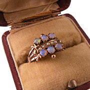 Antique Victorian 14K Gold Opals and Seed Pearls Ring