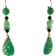 Art Deco Dangling Green Glass Earrings, Faux Jade, 2-1/2""