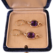 Antique Victorian 14k Gold Snake Earrings with Amethysts, Sapphires, and Diamonds