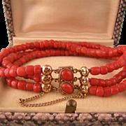 "Antique Victorian 14K Gold and Coral Bracelet, Medium Wrist, 7"""